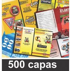 Pacote de 500 capas e contracapas para personalização (R$ 0,79 cada capa).